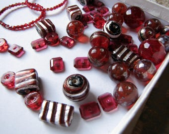 chunky red glass bead soup - vintage and reclaimed mix of cherry hues - lamp work foil glass