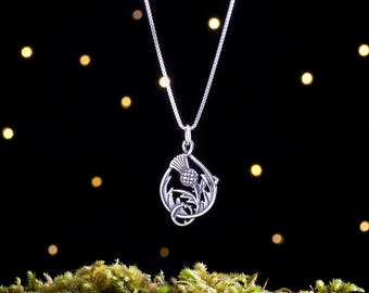 Sterling Silver Scottish Thistle - Double-Sided - (Pendant, Necklace, or Earrings)