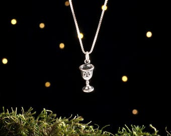 Sterling Silver Pentagram Chalice - 3D Double Sided - (Charm, Necklace, or Earrings)