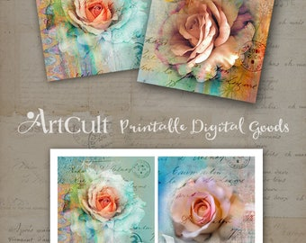 Printable 3.8x3.8 inch Images TEA ROSES for Coasters Digital Collage Sheet Greeting cards home decor Paper goods Gift Tags ArtCult downloads