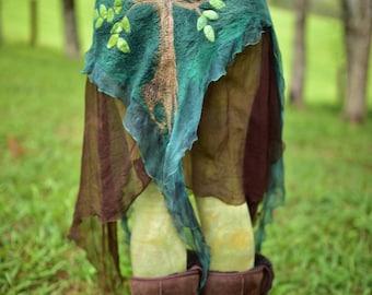 Nuno Felted Belt-Woodland Costume-Nymph Old Grandfather Tree Skirt-Silk Belt-Nuno Felted Skirt-Fairy Costume-Pixie Belt-Tree Costume OOAK