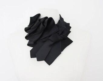 Katherine - Black Tuxedo Satin Ruffle Necktie Collar