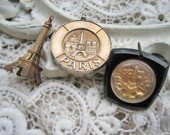 Vintage Paris pendant lot, Vintage Paris charms, Vintage Eiffel tower pendant lot, Vintage Paris souvenir charms lot, Paris souvenir lot