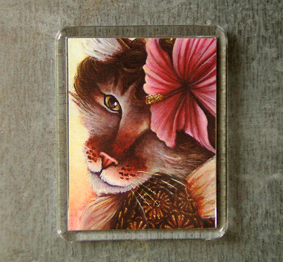 Hibiscus Cat Magnet, Victorian Flower Fairy, Maine Coon Cat Art Fridge Magnet