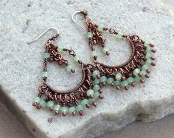 Light Green Lace Chandelier Earrings, Antique Copper, Wire Wrapped, Copper Earrings, Canada, Handcrafted, Sterling Silver Ear wires