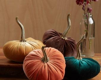 Scented Velvet Pumpkins, SET of 4:  orange, mustard, dark green, rich brown