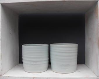 2x Large Coffee Beakers in Pale Blue Celadon Glazes