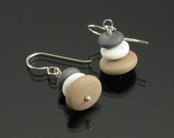 Zen Pebble Earrings, Zen Silver Earrings Cairn Rock Earrings, Yoga Jewelry, Unique Earrings Gift, Women's Gift, Zen Jewelry Gift for Women