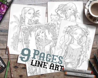 Colouring Pages for Adults | 9 Line Art pages | Printable | Zan Von Zed