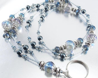 Blue Crystal and Swarovski Pearl Beaded Lanyard, ID Badge Holder, ID Necklace, Badge Clip Necklace