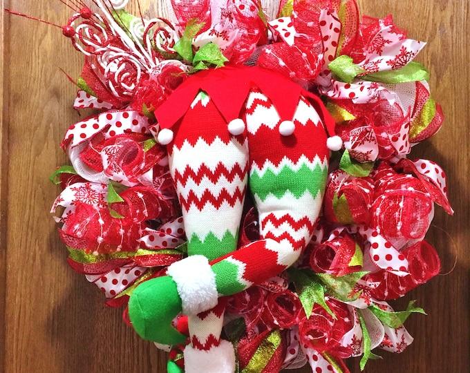 SALE - Elf Butt Bottom Candy Cane Christmas - Welcome Door Wreath!