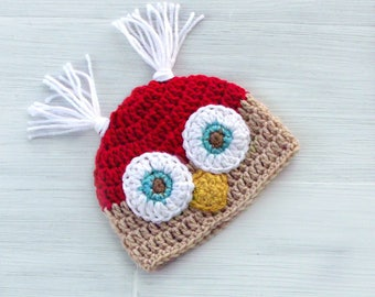 Baby Christmas Owl Hat, Crochet Owl Hat, Christmas Baby Boy Hat, Christmas Baby Girl Hat, Red Christmas Owl Hat,