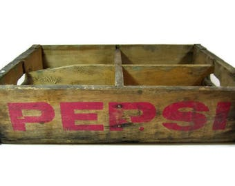 Vintage PEPSI COLA CRATE / 4 Sections / Natural Wood / Soda Pop Bottle Crate