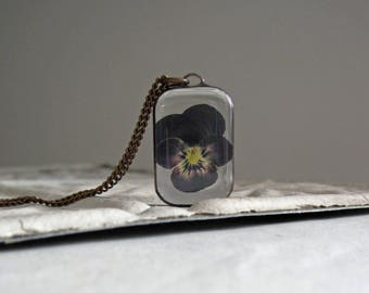 Viola Pressed Flower Necklace, Nature Jewelry, Spring Flowers