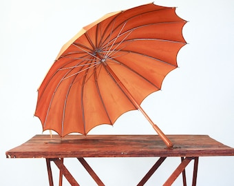 Vintage Parasol or Umbrella / Wood Handle / Mustard Yellow