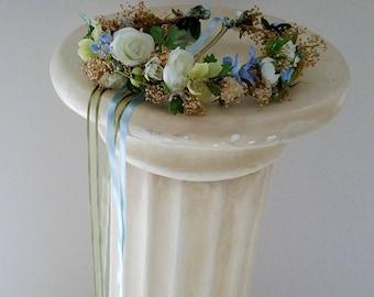 Sage and dusty blue dried flower crown wedding accessories baby headband Photo prop silk hair wreath Bridal little girl halo circlet