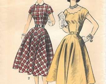 Advance 7904 1950s Scalloped Neckline Dress with Full Skirt Vintage Sewing Pattern Size 16 Bust 34