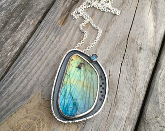 RESERVED LAYAWAY Labradorite Necklace Sterling Silver Labradorite & Topaz Necklace Handmade Jewelry By Joy Kruse Wild Prairie Silver Jewelry