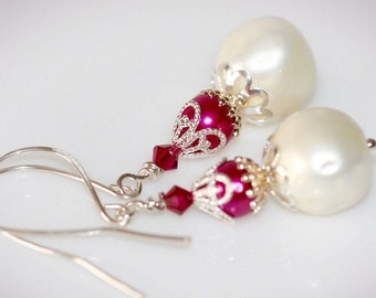 Vintage Pearl Dangle Earrings. Hot Pink & White Glass Pearls. Upcycled - Repurposed Jewelry