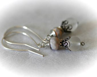 Bohemian Beaded Earrings with Oyster Beige and Recycled Frosted White Glass Beads