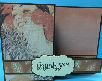 Retro inspired Handmade Z-Fold Thank You Card/Gift Card Holder
