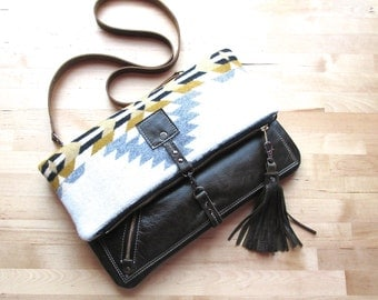 Leather crossbody bag, fold over bag, fold over purse, Oregon wool fabric and  distressed leather bag with leather tassel, in Gorilla Brown