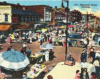 Vintage Chicago Postcard - The Ghetto Market on Maxwell Street (Unused)