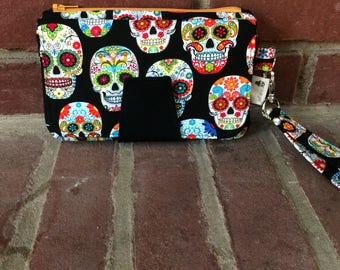 Skull Wallet, Sugar Skulls, Pearl Wallet Clutch, Pearl Wallet, Skeleton, Day of the Dead