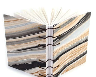 Black and Gold Agate Journal #2 -  Handmade book with Marbled paper covers made by Ruth Bleakley