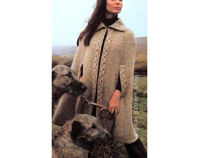 Cape Knitting Pattern Cable Trim Arm Slits Collar Open Poncho Instant Download PDF