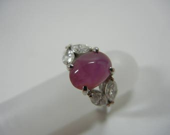 Pink Star Sapphire Ring / Engagement ring / Diamond side accents / vintage / estate jewelry / 14k white gold / gorgeous