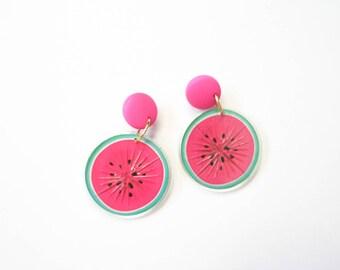 Watermelon Earrings Fruit Jewelry Summer Pop Art Statement Dangle Accessories Acrylic Plastic Lucite 1980s Kitsch 80s Pink Carmen Miranda
