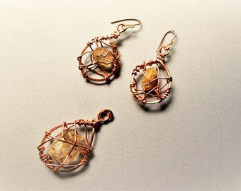 Solid Copper Wire Wrapped Clear Genuine Natural Quartz Crystal Tear Drop Dangle Earrings and Pendant Charm Set