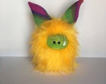 Monster Plushie - Stuffed Monster - Handmade Yellow Monster Doll - Cuddly Monster Softie - Soft Toy Plush Monster - Fuzzling Monster - OOAK