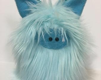 Handstitched Monster Winged Toy - Fuzzling Flutter - Cute Stuffed Monster - Monster Softie - Plush Monster Doll - Blue Handmade Plush Animal