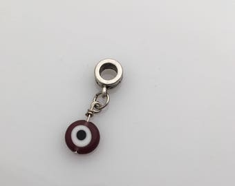 Purple Evil Eye European Bead Charm Drop Pendant - Evil Eye Bracelet Charm