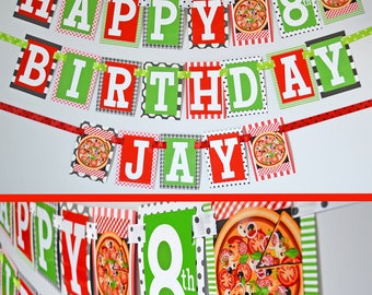 Pizza Party Birthday Party Banner | Pizza Themed Party | Fully Assembled Decorations | Pizza Party | Pizza Party Birthday Banner | Green Red