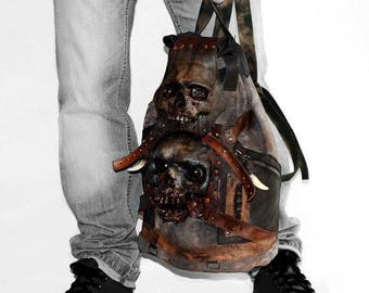 Zombie - Backpack - Leather backpack - Vampire - Military backpack - Horror - Evil eye - Men birthday - Skull bag - Horror mask - Werewolf