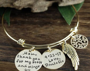 Mom, Thank you for my Roots and Wings, Bridal Gift for mom, Bracelet for Mom, Personalized Bracelet for Mom, Gold Family Tree Bracelet