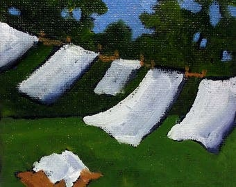 Miniature Impressionist Painting 4x4 Plein Air Landscape Backyard Laundry Clothesline Art Lynne French