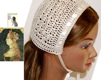 Renaissance Biggins cap,Coif cap, Biggin,NATURAL Color, removable Ribbon ties, Renni faire ,Costume, headdress, Medieval,sca