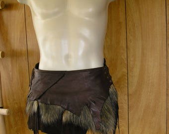 Large Barbarian leather loincloth, Unisex, Made to order, faux fur, fringe, loincloth, hip belt, choose your size, leather & fur color
