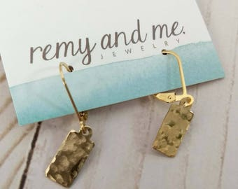 Gold Dangle Earrings, Gold Leverback Earrings, Hammered Earrings, Everyday Jewelry, Holiday Christmas Gift Idea Her Under 40, Remy and Me