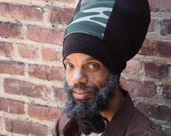 Men- Brown & Camo Stretch Hat - Locs Hat - Rasta Hat - 5 Length Options