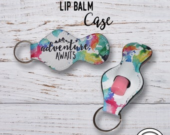 Lip Balm Keychain Case,  Adventurea Awaits Watercolor Map Chap stick Key Ring Carrying Cozy Holder