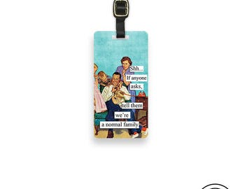Luggage Tag Funny Normal Family Retro Family Metal Luggage Tag Printed Personalized Custom Info On Back , Single Tag