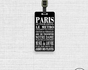 Luggage Tag Paris France Sites Subway Sign  - Single Tag Custom Metal Luggage Tag