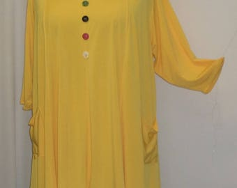 Plus Size Tunic Top, Coco and Juan, Lagenlook, Yellow, Traveler Knit Trapeze Tunic, Women's Tunic, Size 2 (fits 3X/4X) 60 inches