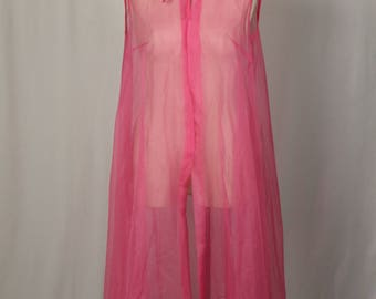 Sheer Pink Peignoir Robe / Vest