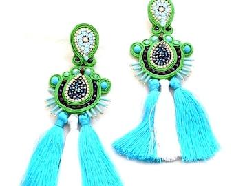 Druzy green white tassel earrings | crystal Swarovski druzy statement earrings | blue green moroccan tile jewelry | turquoise spike earrings